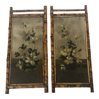 Antique Floral Reverse Paintings in Bamboo Frames - a Pair For Sale