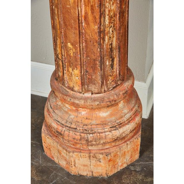 Pair of Orange Tall Indian Teak Wood Pillars - Image 9 of 9