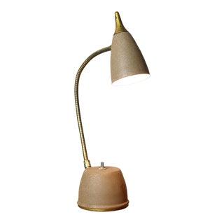 1960's Metal & Brass Gooseneck Adjustable Desk Lamp With Wall Mountable Option For Sale