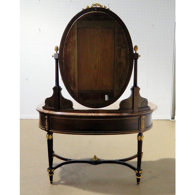 Regency Style Marble Top Vanity With Mirror For Sale - Image 9 of 11