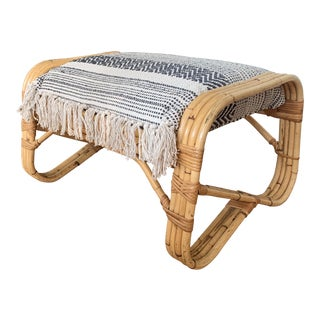 Vintage Boho Chic Rattan Pretzel Bench For Sale