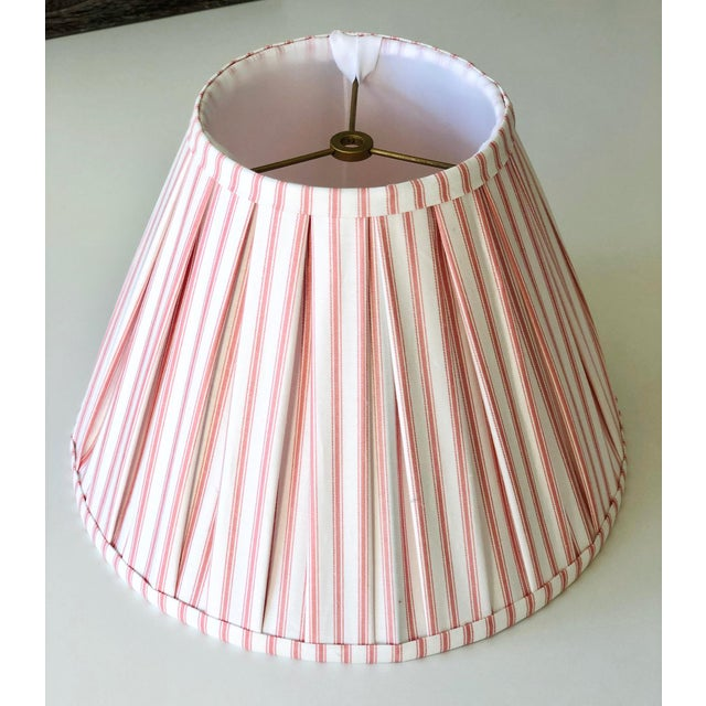 Custom Box Pleat Lampshades With Ticking Strip - a Pair For Sale - Image 4 of 6