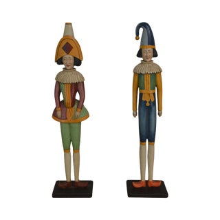 Folk Art Hand Carved and Painted Wood Punch and Judy Vintage Statues For Sale