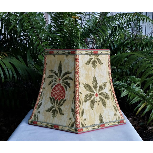 Olive Vintage Pineapple Greeff Fabric Mustard Olive Green and Coral Lampshade For Sale - Image 8 of 11