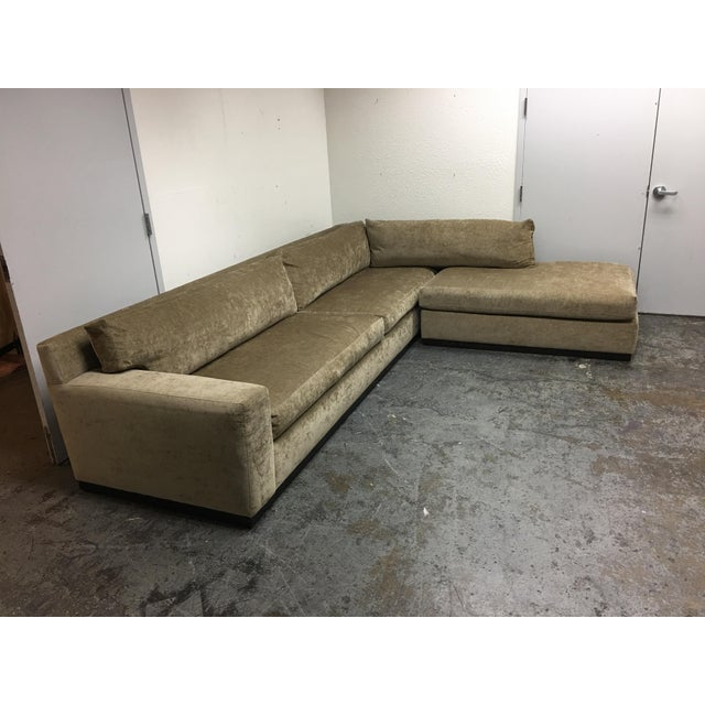 Mid-Century Modern Cisco Furniture Green Velvet Two Piece Sectional For Sale - Image 3 of 11
