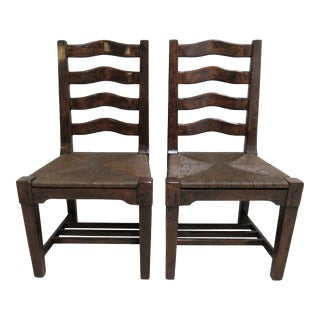 Custom British Colonial Rush Seat Dining Room Chairs - a Pair For Sale