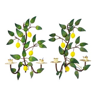 A Pair of Italian Painted Tole Lemon Tree Wall Sconces For Sale
