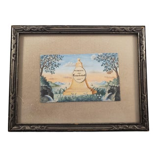 """Vintage Watercolor Painting of """"Monument of Memorial to Friendship"""" For Sale"""