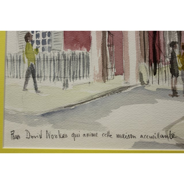 Gated Courtyard Watercolor For Sale - Image 4 of 7