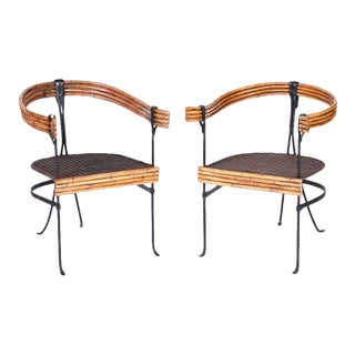 Mid Century Wrought Iron and Bamboo Armchairs - a Pair For Sale