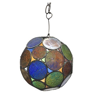 Moroccan Moorish Handcrafted Pendant Lantern With Multi-Color Glass For Sale
