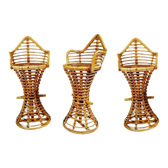 Restored Stick Rattan Bar Stools in the Manner of Albini, Set of Three - Image 1 of 6