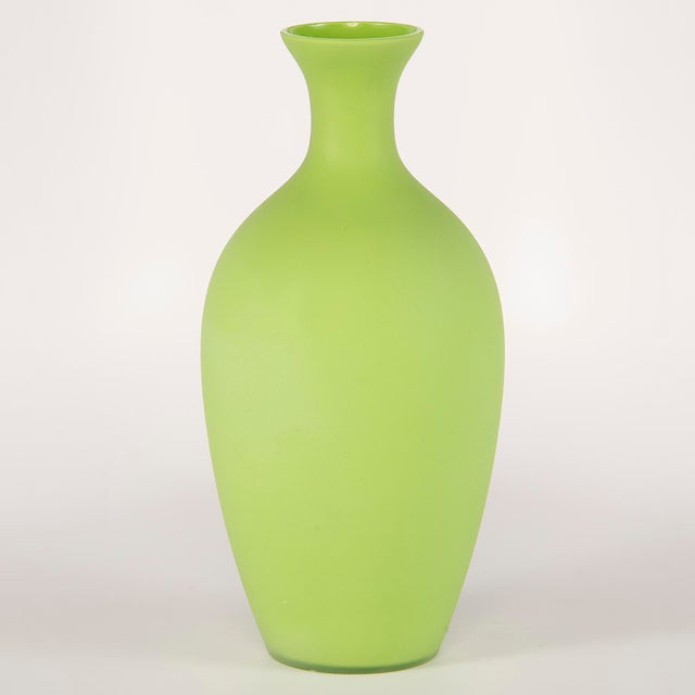 Cenedese Tall Mid Century Cenedese Murano Glass Green Vase For Sale - Image 4 of 8