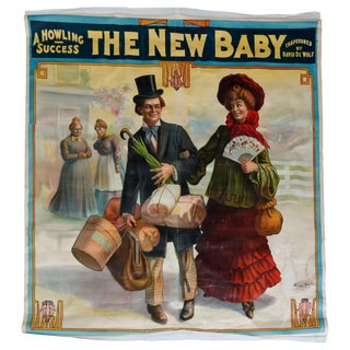 """Monumental Wall-Size Original Theatre Stage Poster on Canvas """"The New Baby"""" 1907 For Sale"""