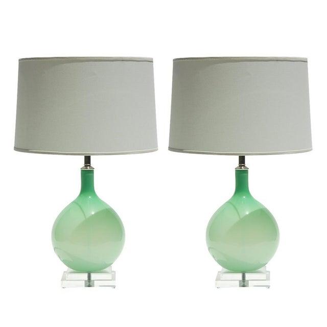 Joe Cariati Joe Cariati Hand Blown Glass Table Lamps Green For Sale - Image 4 of 4