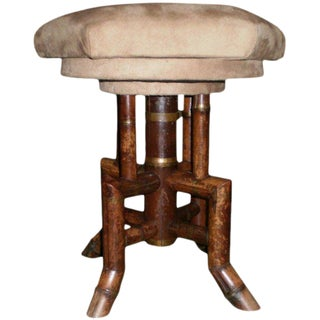 Antique French Bamboo Swivel Stool For Sale