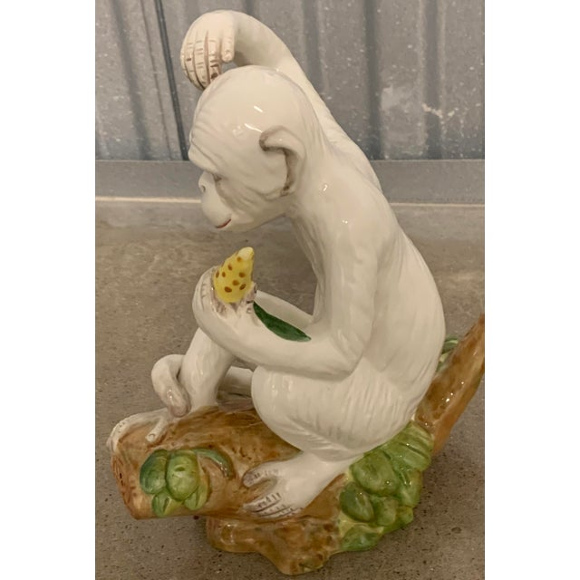 Vintage White Italian Ceramic Monkeys - a Pair For Sale - Image 4 of 13