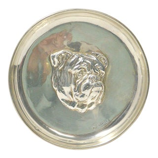 1910s Sterling Silver Bulldog Portrait Dish For Sale