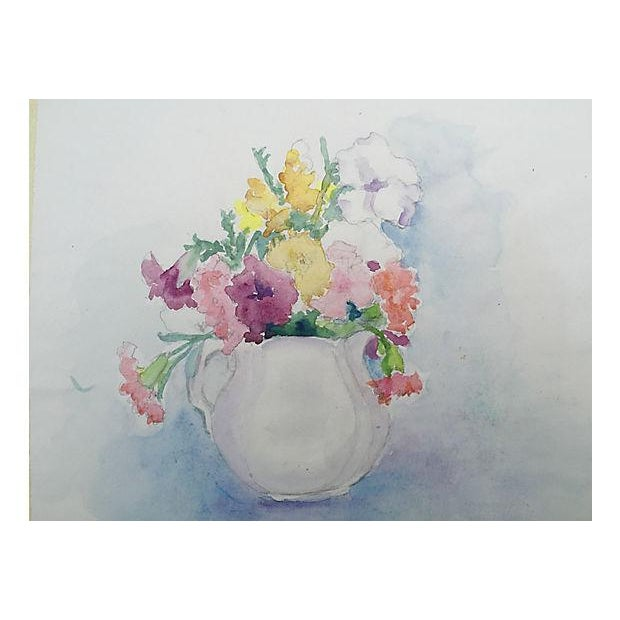 Mid-Century Floral Still Life Watercolor Painting - Image 1 of 4