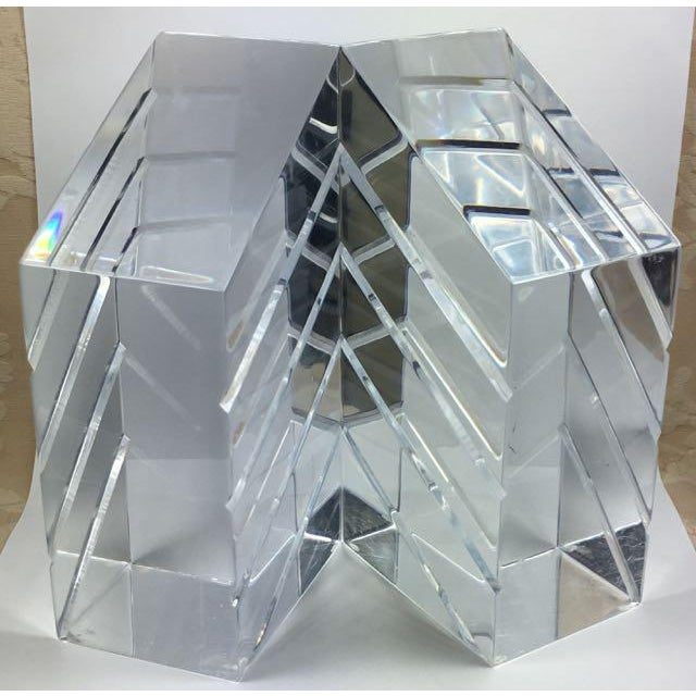 Transparent Mid-Century Astrolite Lucite Bookends - A Pair For Sale - Image 8 of 8