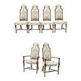 Image of Oak High Back Upholstered Dining Chairs - Set of 6 For Sale