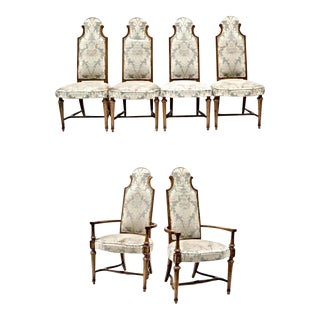 Oak High Back Upholstered Dining Chairs - Set of 6 For Sale