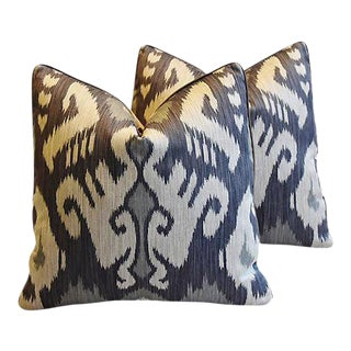 "French Ikat & Scalamandre Feather/Down Pillows 21"" Square - Pair For Sale"