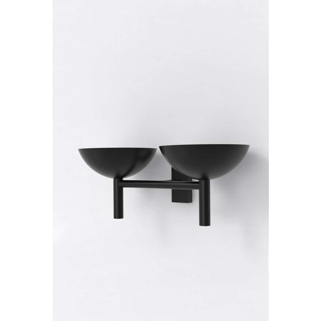 Material Lust Contemporary 200 Double Sconce in Blackened Brass by Orphan Work, 2020 For Sale - Image 4 of 6
