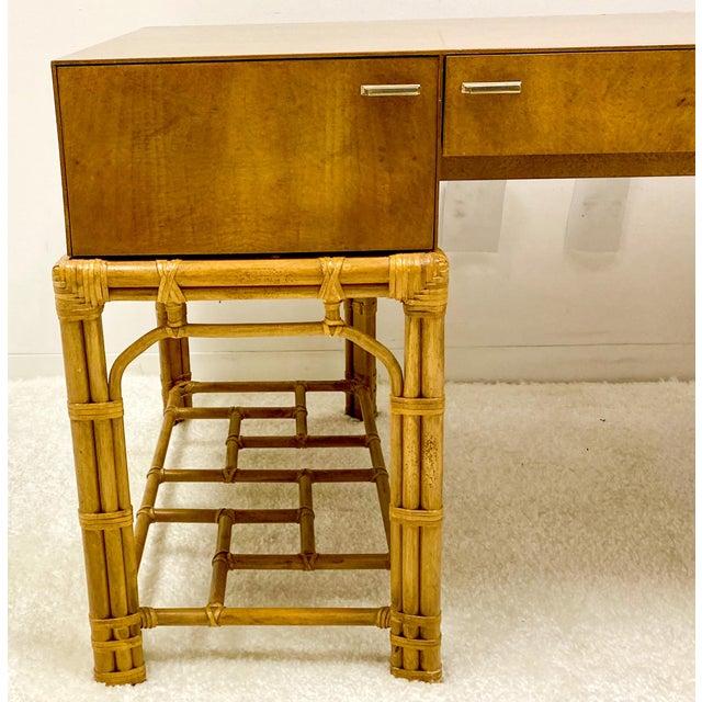 Henredon Henredon Circa East Burlwood & Bamboo Modern Desk For Sale - Image 4 of 10