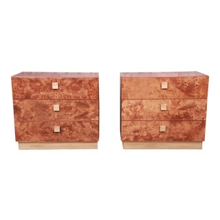 Jack Cartwright for Founders Mid-Century Modern Burl Wood Bedside Chests, Newly Restored For Sale