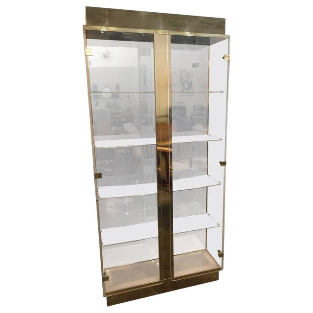 Mid Century Modern Tall Lucite, Mirror & Gold Tone Metal Cabinet w/ Lighting - Image 1 of 10