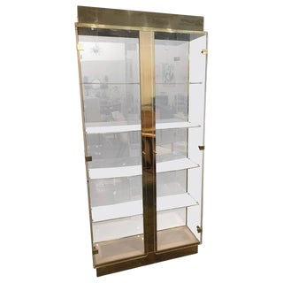 Tall Lucite, Mirror and Gold Tone Metal Cabinet with Upper and Lower Lighting
