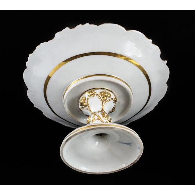 Meissen Porcelain Meissen Germany Porcelain Gold Grape Leaf & Fruit Pedestal Bowl Compote, Circa 1900 For Sale - Image 4 of 5