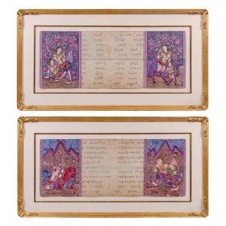 Mid 19th Century Antique Phra Malai Thai Buddhist Illuminated Manuscripts - a Pair For Sale