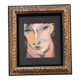 Original Vintage Framed Pastel Portrait Signed For Sale