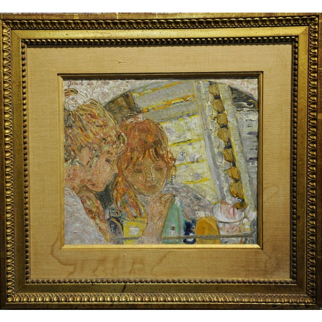 French Helene Girod De l'Ain -Girl in the Mirror -French Oil Painting C.1930s For Sale - Image 3 of 6