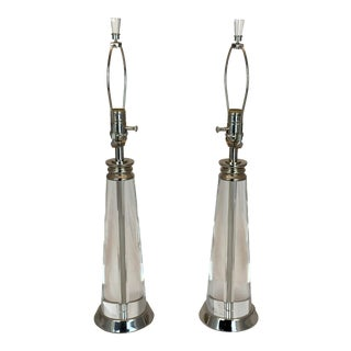 Pottery Barn Tall Heavy Crystal Table Lamps With Finials - a Pair For Sale