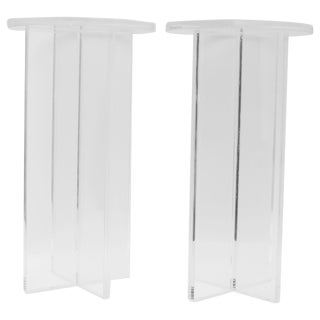 Custom Bespoke Lucite Side Tables - a Pair For Sale