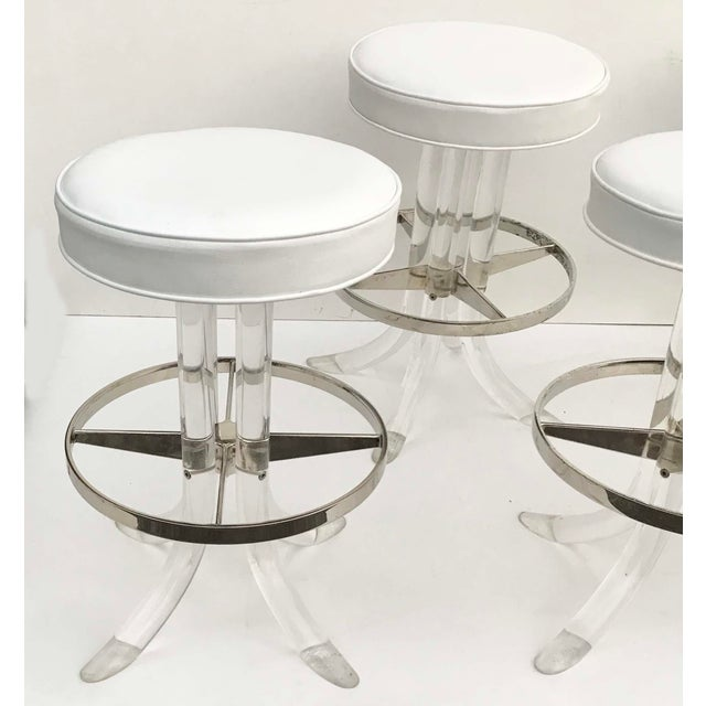 "Superb Set Of Swiveling Lucite Barstools By Hill Manufacturing's New seat White Vinyl Upholstery.. Base : 21""Diameter"