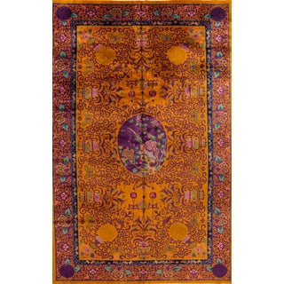 Large Goldenrod Antique Chinese Art Deco Wool Rug 11 Ft 9 X 19 Ft 9 In. For Sale