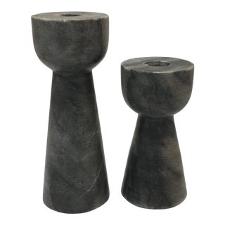 Modern Black Marble Candle Holders - A Pair