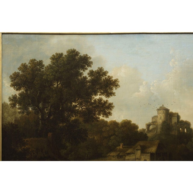 """""""Landscape W/ Castle Ruins"""" Antique English Painting by George Smith of Chichester For Sale - Image 10 of 13"""