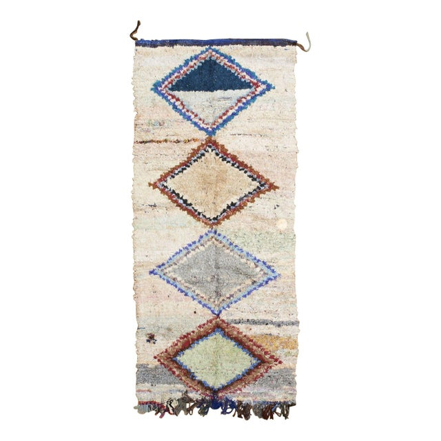 "Pastel Diamond Print Boucherouite Rug 3' 10""x7' 5"" For Sale"