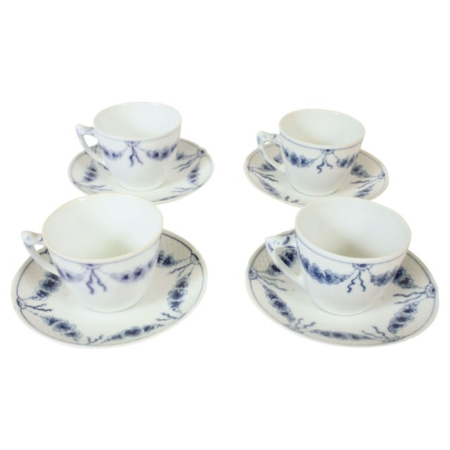 B&G Empire Blue Cups & Saucers- Set of 4 - Image 1 of 4