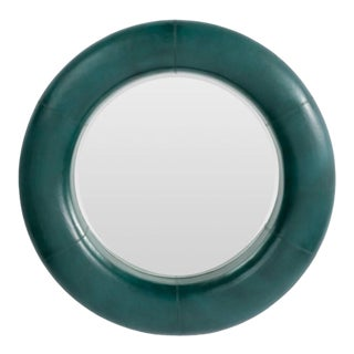 Made Goods Modern Round Teal Leather Merin Wall Mirror