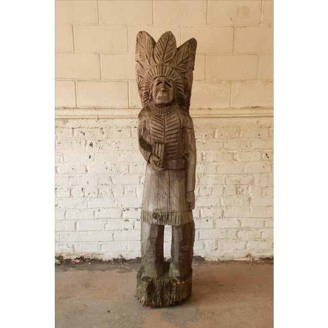 Life Size American Carved Wood Cigar Store Indian - Image 8 of 8