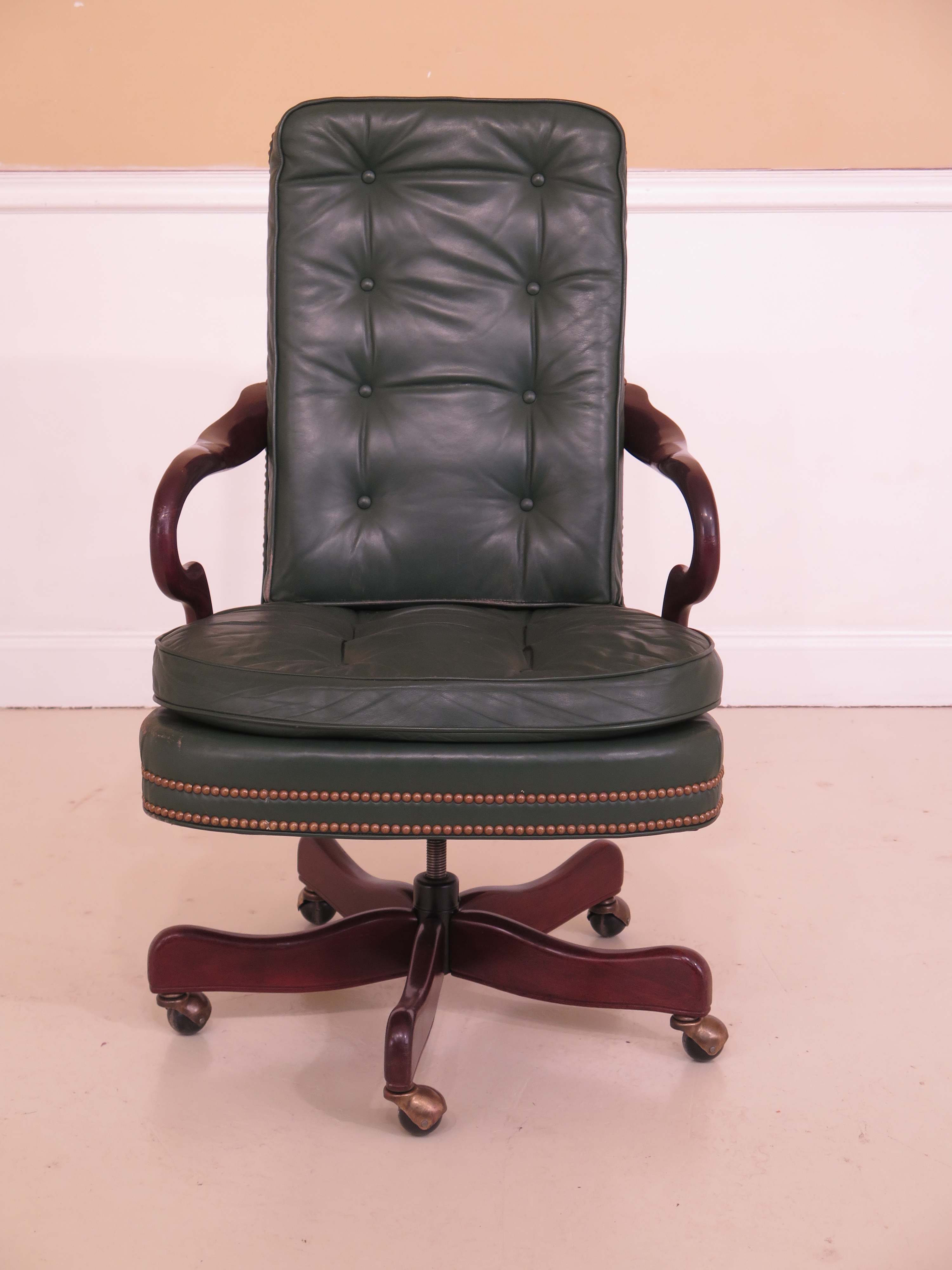 Hancock U0026 Moore Tufted Green Leather Office Chair   Image 13 Of 13