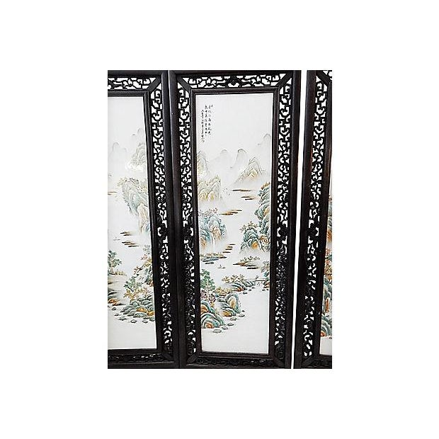 """lG Chinoiserie Porcelain Panels - Set of Four 67.5"""" H For Sale - Image 4 of 9"""