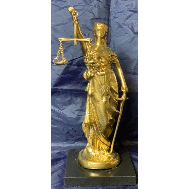 Vintage Blind Justice Gold Metal Spelter Figurine For Sale - Image 12 of 13