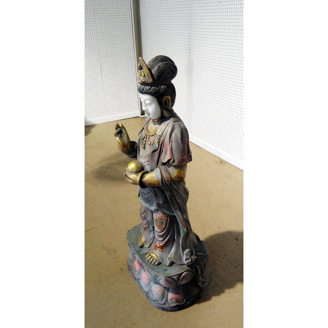 Early 20th Century Figural Oriental Marble Statue For Sale - Image 4 of 7